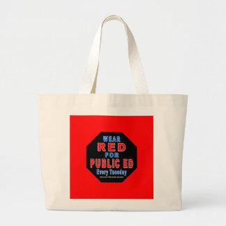 Rojo del desgaste para Ed público Bolsa Tela Grande