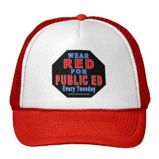 Rojo del desgaste para Ed público Gorros