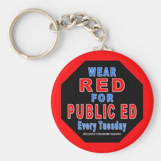 Rojo del desgaste para Ed público Llaveros