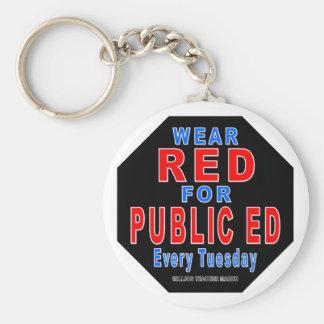 Rojo del desgaste para Ed público Llavero Personalizado