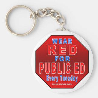 Rojo del desgaste para Ed público Llavero
