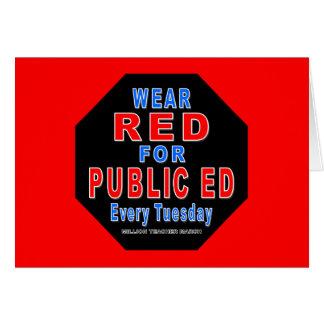 Rojo del desgaste para Ed público Tarjetón