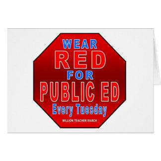 Rojo del desgaste para Ed público Felicitación