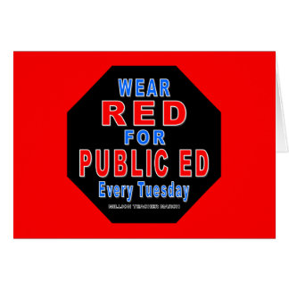 Rojo del desgaste para Ed público Tarjeta Pequeña
