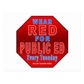 Rojo del desgaste para Ed público Postal
