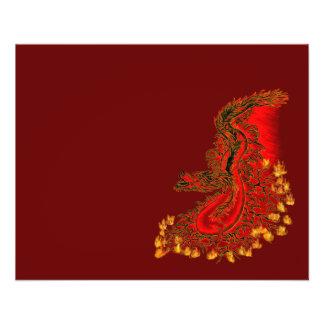 Rojo del dragón de China y diseño del oro Flyer Personalizado