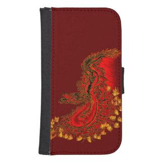 Rojo del dragón de China y diseño del oro Fundas Billetera De Galaxy S4