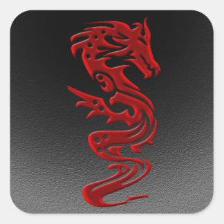 Rojo del dragón pegatina cuadrada