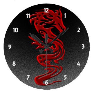 Rojo del dragón reloj redondo grande