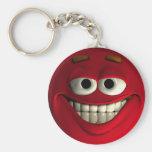 Rojo del Emoticon Llaveros Personalizados