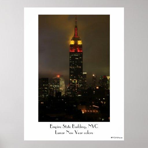 Rojo del Empire State Building, amarillo: Año Nuev Posters