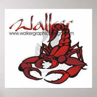 Rojo del escorpión del diseño gráfico del caminant poster