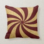 Rojo del espiral del circo del vintage almohadas