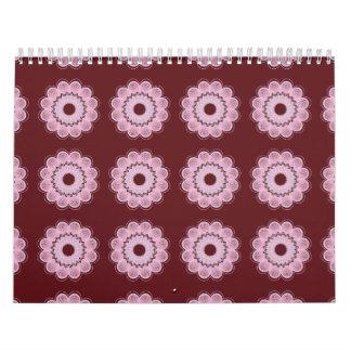 Rojo del estampado de plores calendarios