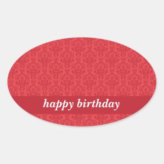 Rojo del feliz cumpleaños, pegatinas elegantes de pegatina ovalada