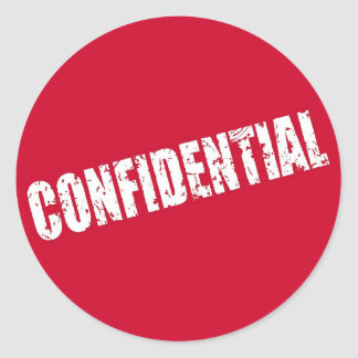 Rojo del fichero confidencial pegatina redonda