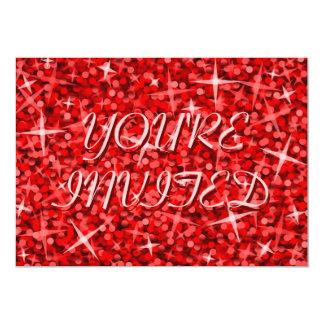 """Rojo del Glitz """"usted es"""" texto rosado invitado de Invitación 5"""" X 7"""""""