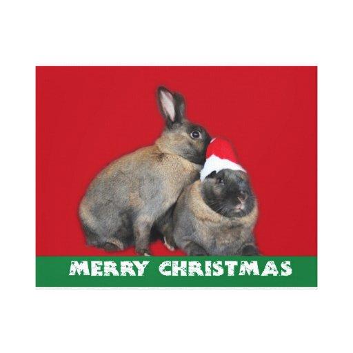 Rojo del gorra de Santa de los conejos de conejito Impresión En Lienzo Estirada