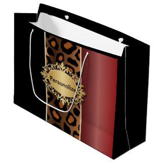 Rojo del granate, negro e impresión de Jaguar Bolsa De Regalo Grande