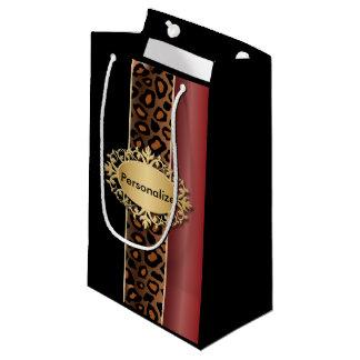 Rojo del granate, negro e impresión de Jaguar Bolsa De Regalo Pequeña