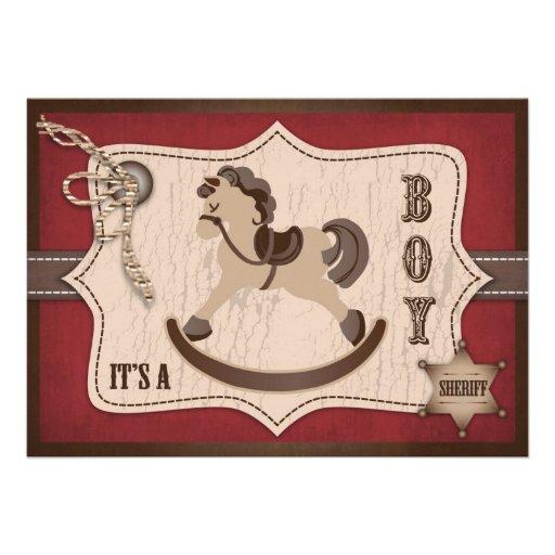 Rojo del granero de la fiesta de bienvenida al beb comunicado personalizado