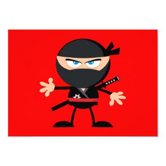Rojo del guerrero de Ninja del dibujo animado Invitación 12,7 X 17,8 Cm