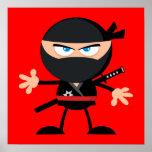 Rojo del guerrero de Ninja del dibujo animado Póster
