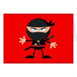 Rojo del guerrero de Ninja del dibujo animado Tarjeta Pequeña