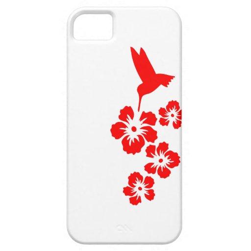 rojo del hibisco del colibrí iPhone 5 funda
