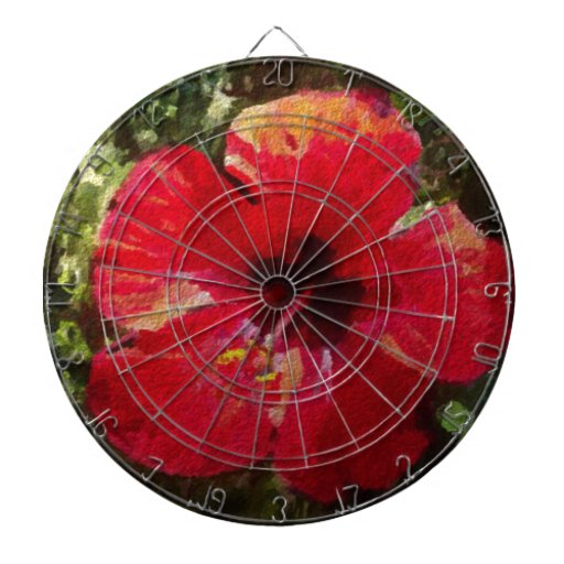 Rojo del hibisco tablero de dardos