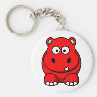 Rojo del hipopótamo llavero redondo tipo pin