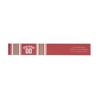 Rojo del jersey de los deportes y número conocido etiquetas para remite