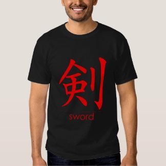 Rojo del kanji de la espada • Camiseta oscura Camisas