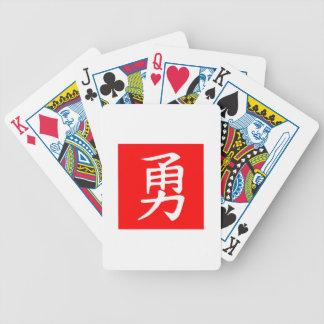 Rojo del kanji del valor baraja cartas de poker