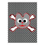 Rojo del Kat del cráneo - gris Invitación 12,7 X 17,8 Cm