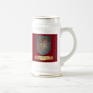 Rojo del león del escudo del metal jarra de cerveza