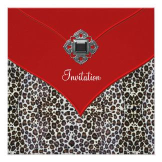 Rojo del leopardo todo el acontecimiento del fiest