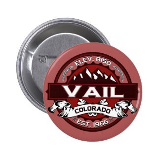 Rojo del logotipo de la ciudad de Vail Pin Redondo De 2 Pulgadas