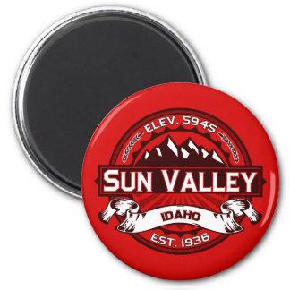 Rojo del logotipo de Sun Valley Imán Redondo 5 Cm