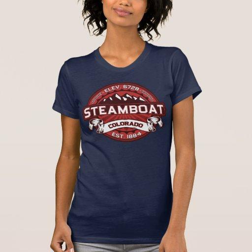Rojo del logotipo del barco de vapor camisetas