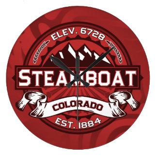 Rojo del logotipo del barco de vapor reloj redondo grande