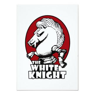 Rojo del logotipo del caballero blanco invitación 12,7 x 17,8 cm
