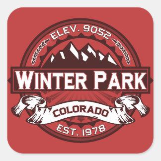 Rojo del logotipo del parque del invierno calcomanía cuadradas