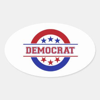 Rojo del logotipo del sello de Demócrata Pegatinas De Oval