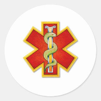rojo del logotipo - oro adornado pegatina redonda
