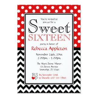 Rojo del lunar y invitaciones del dulce dieciséis comunicados personales