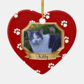 Rojo del marco de la foto del mascota de las adorno navideño de cerámica en forma de corazón
