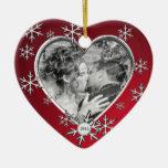 Rojo del marco del copo de nieve del invierno adorno para reyes