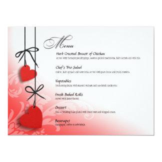 Rojo del menú de la cena de los Heartstrings Invitación 16,5 X 22,2 Cm