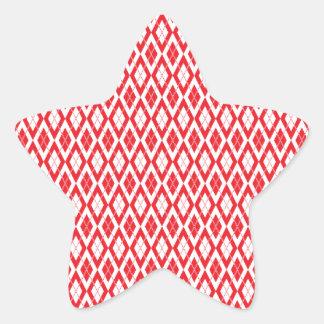 Rojo del modelo 2 de Argyle Pegatina En Forma De Estrella